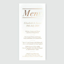 Simple Foil Wedding Menu
