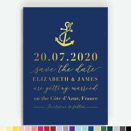 Nautical Anchor Foil Printed Save the Date