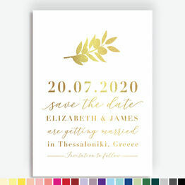 Olive Branch Foil Printed Save the Date