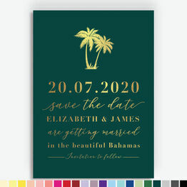 Palm Trees Foil Printed Save the Date