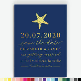 Starfish Foil Printed Save the Date