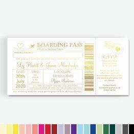 Foil Printed Boarding Pass Wedding Invitation
