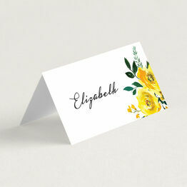 Yellow Floral Wedding Place Card