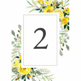 Yellow Floral Wedding Table Number