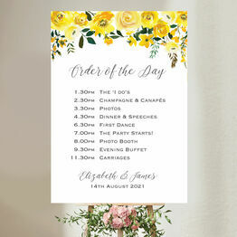 Yellow Floral Wedding Order of the Day Sign