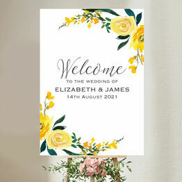 Yellow Floral Wedding Welcome Sign