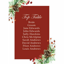 Berries & Pine Cones Christmas Wedding Table Plan Card