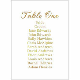Real Foil Printed Wedding Table Plan Card