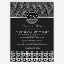Art Deco 1920s Style Silver / 25th Wedding Anniversary Invitation