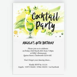 Summer Cocktail Party Milestone Birthday Invitation