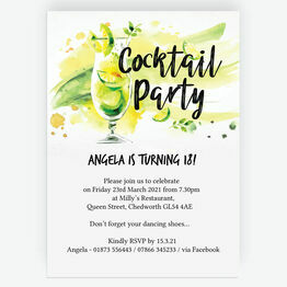 Summer Cocktail Party 18th Birthday Party Invitation