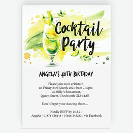 Summer Cocktail Party 40th Birthday Party Invitation