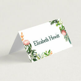 Greenery & Peach Flowers Wedding Place Cards
