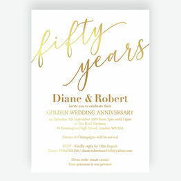 Gold Foil Golden / 50th Wedding Anniversary Invitation