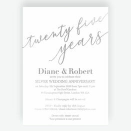 Silver Foil 25th Wedding Anniversary Invitation