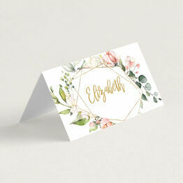 White, Blush Pink & Rose Gold Floral Frame Wedding Place Card
