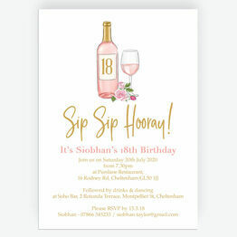 Sip Sip Hooray' Rose & Gold Wine Themed 18th Birthday Invitation