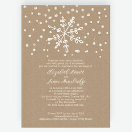 Rustic Snowflake Festive Wedding Invitation