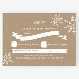 Rustic Snowflake Festive RSVP Card