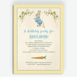 Beatrix Potter Peter Rabbit Party Invitation