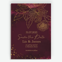 Burgundy & Gold Floral Outline Save the Date