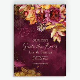 Autumn Burgundy Floral Save the Date