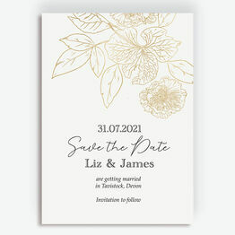 White & Gold Floral Outline Save the Date