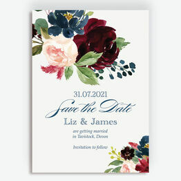 Navy, Burgundy & Blush Floral Save the Date
