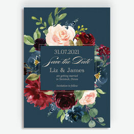Navy, Burgundy & Blush Floral Frame Save the Date