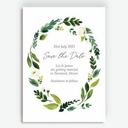 White & Green Floral Frame Save the Date