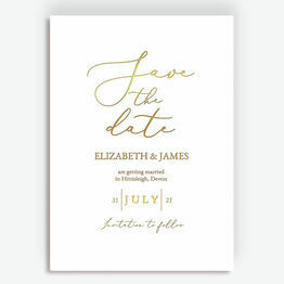 Minimal Calligraphy Style Foil Save the Date