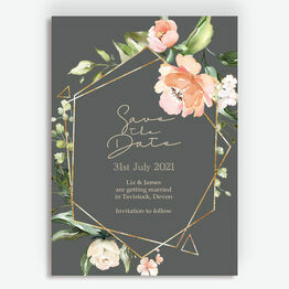 Charcoal, Blush & Gold Geometric Floral Save the Date