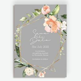 Dove Grey, Blush & Gold Geometric Floral Save the Date