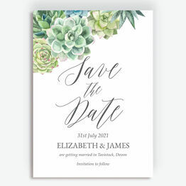 Watercolour Succulents Save the Date