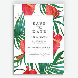 Tropical Red Anthurium Flowers Save the Date