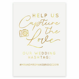 Real Foil Wedding Hashtag Sign