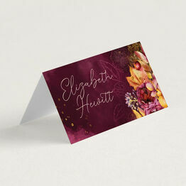 Autumn Burgundy Floral Place Cards