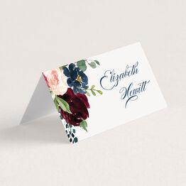Navy, Burgundy & Blush Floral Frame Wedding Place Cards