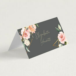 Grey, Blush & Gold Geometric Floral Place Cards
