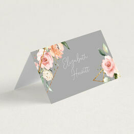 Dove Grey, Blush & Gold Geometric Floral Place Cards