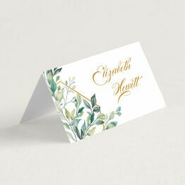 Gold & Greenery Geometric Place Cards