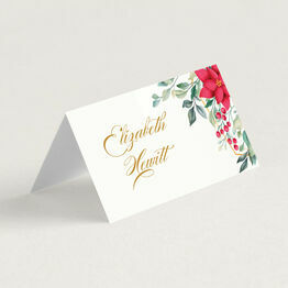 Poinsettia Flowers Winter Place Cards