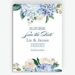 Blue Hydrangea Watercolour Save the Date