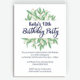 Greenery / Leaves Birthday Party Invitation