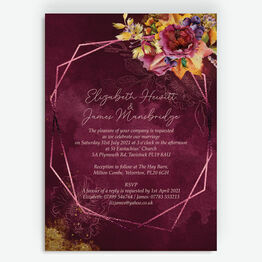 Autumn Burgundy Floral Wedding Invitation