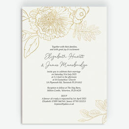 White & Gold Floral Outline Wedding Invitation