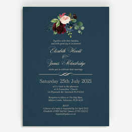 Navy, Burgundy & Blush Floral Wedding Invitation