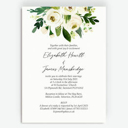 White & Green Floral Frame Wedding Invitation