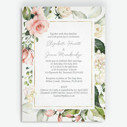 Blush & Gold Geometric Floral Wedding Invitation