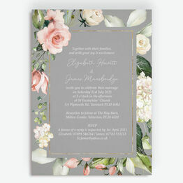 Dove Grey, Blush & Gold Geometric Floral Wedding Invitation